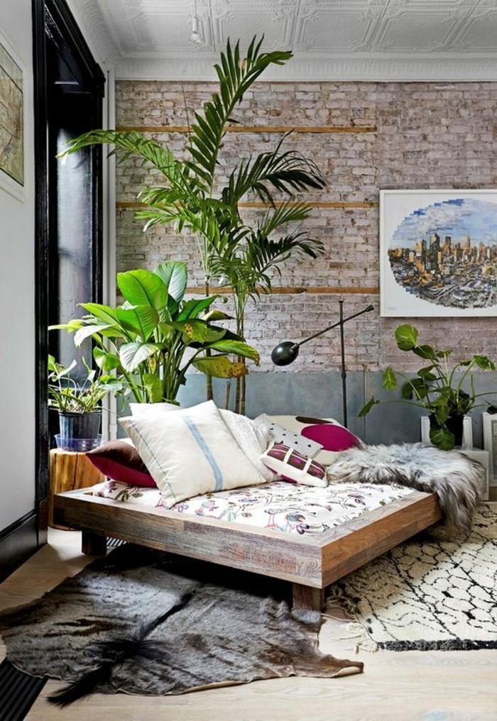 wandgestaltung-wohnzimmer-attraktives-modell-grüne-pflanzen
