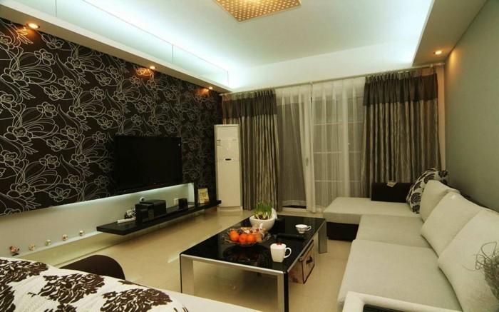 wandgestaltung-wohnzimmer-moderne-dunkle-tapeten