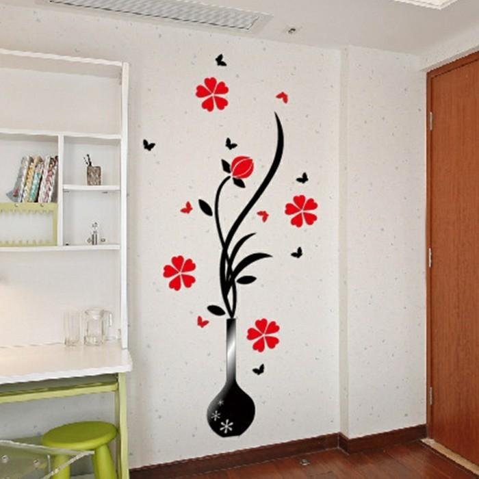 Wandtattoo Rote Blumen : wandtattooflureinevasemitrotenblumen