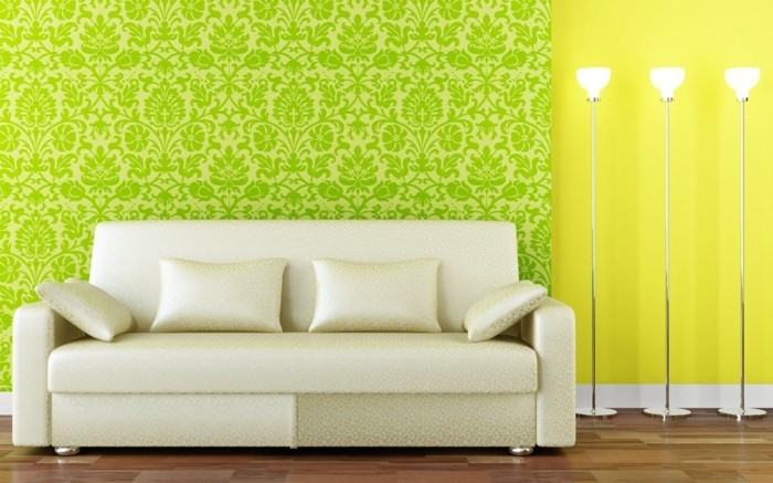 wunderschöne-wandgestaltung-im-wohnzimmer-grün-und-gelb-kombinieren
