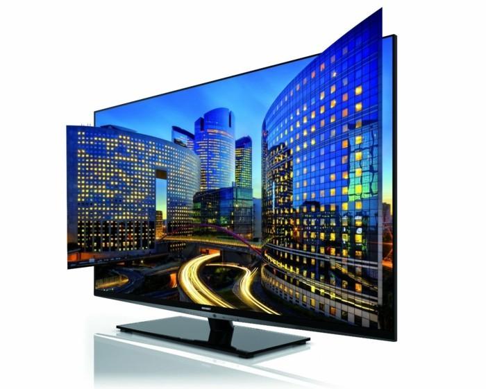 3D-Fernseher-eine-Stadt-auf-dem-Bildschirm-ansehen