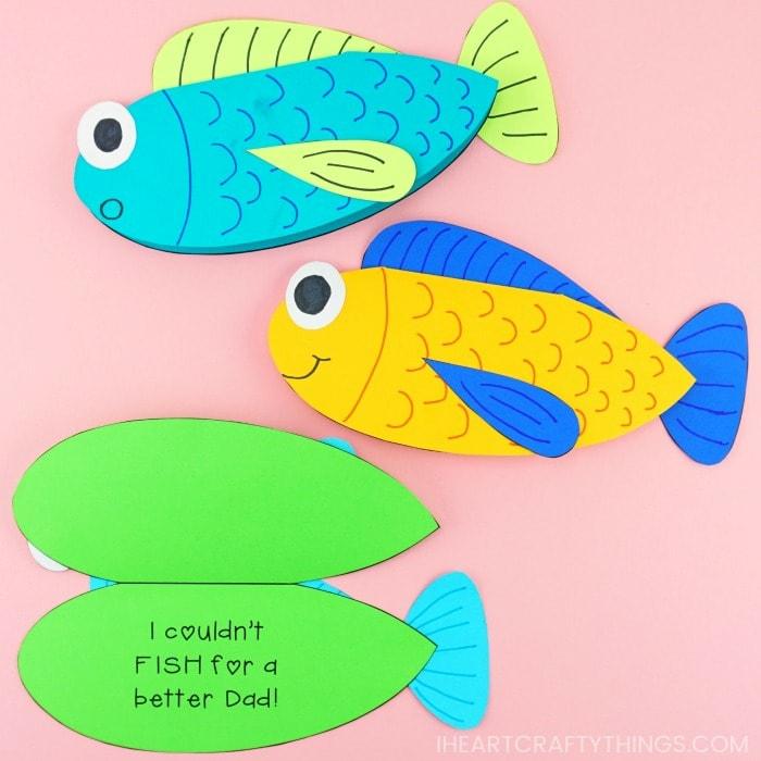 vatertagsgeschenke von kindern, diy geschenk für papa, geschenkkarten fische