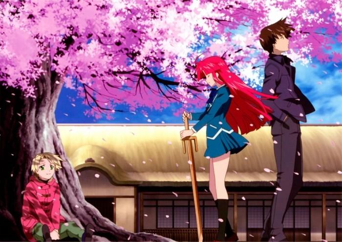 Anime-Bilder-unter-Sakura-Baum