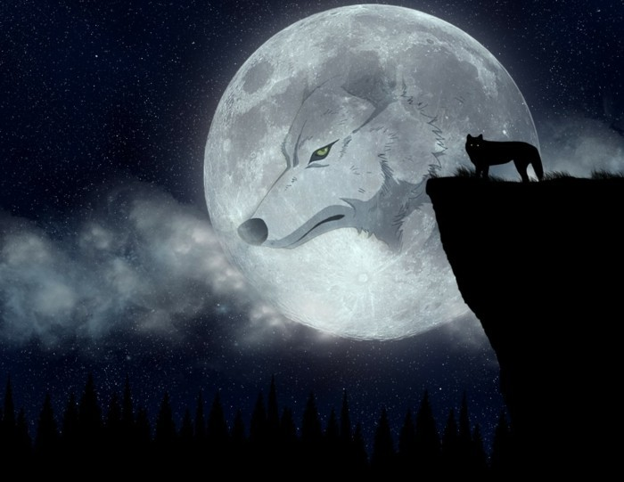Anime-Hintergrundbilder-mit-dem-Mond-und-Wolf