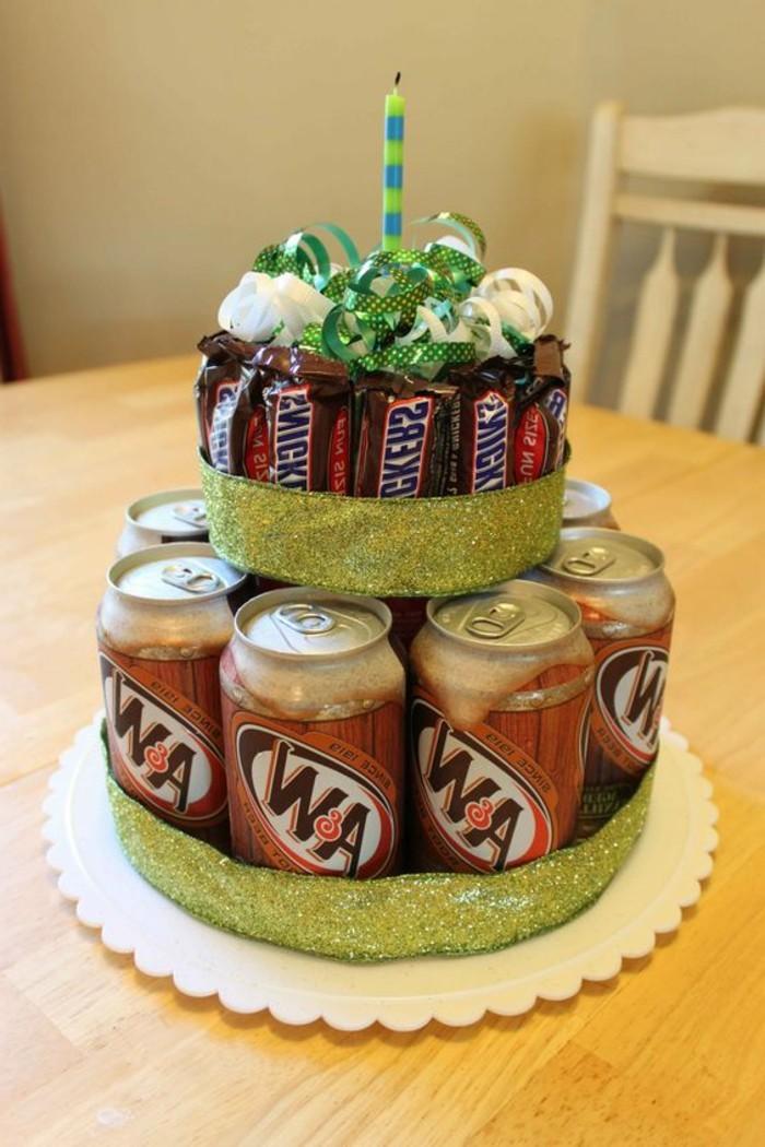 Ausgefallene-Geburtstagsgeschenke-eine-Torte-aus-der-Lieblingssüßigkeiten-und-Getränken