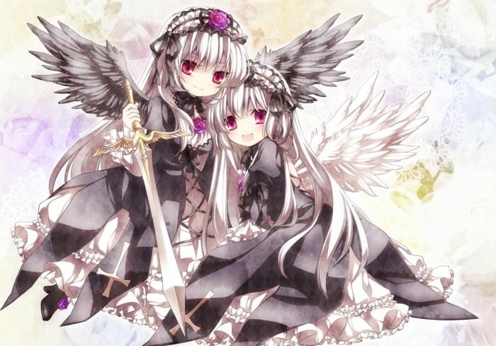 Coole-Anime-Bilder-zwei-Puppen-mit-Flügeln