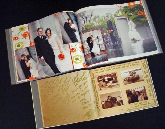 Fotobücher-mit-einem-roten-Blumenstrauß