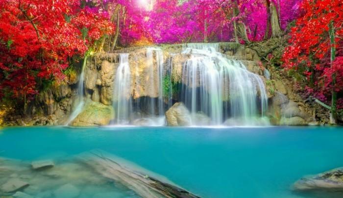 Hintergrundbilder-Wasserfall-mit-roten-Bäumen-umgeben