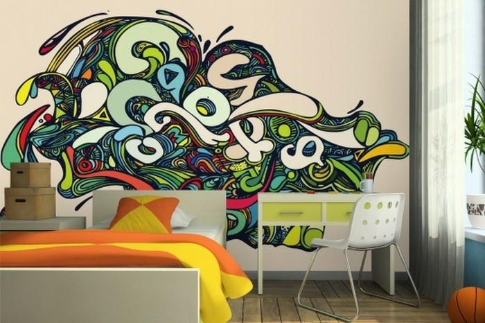 Jugendzimmer-Ideen-die-Wand-mit-Graffiti-bemalen