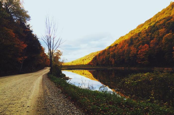 Landschaftsbild-von-einem-Weg-neben-dem-Fluss