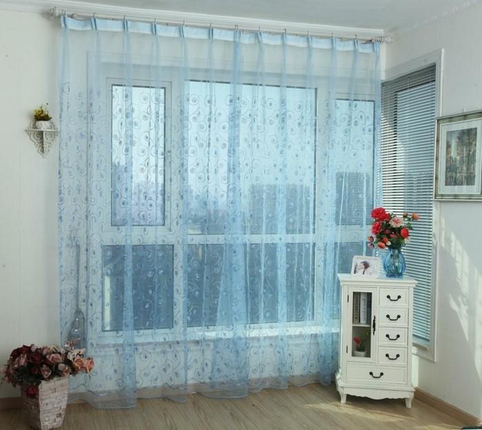 Schlaufengardinen In Blauer Farbe Mit Abstrakten Blumen Gardinen Für  Wohnzimmer U2013 Eine Durchsichtige Dekoration | Fenster ...