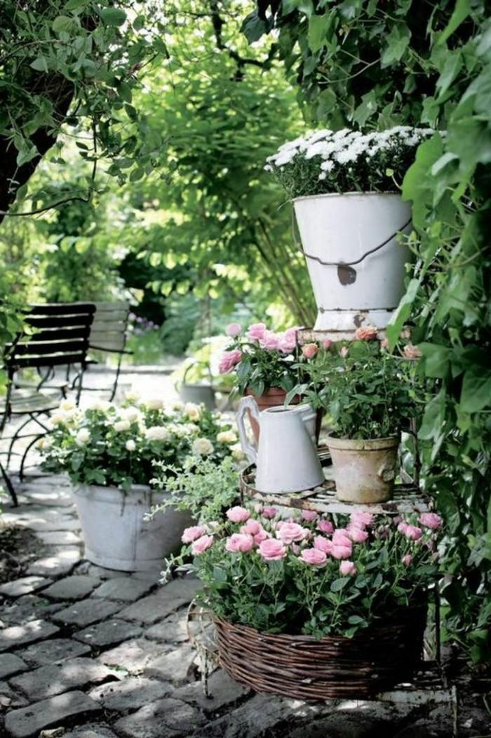 Shabby-Chic-Garten-Metalleimern-blumentöpfe