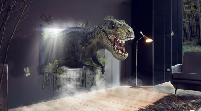 TV-Flachbildschirm-mit-einem-Dinosaurier-wie-lebendig