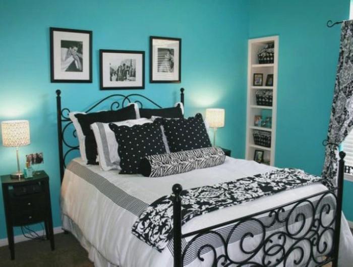 Wandgestaltung-Jugendzimmer-mit-Fotos-in-schwarz-und-weiß