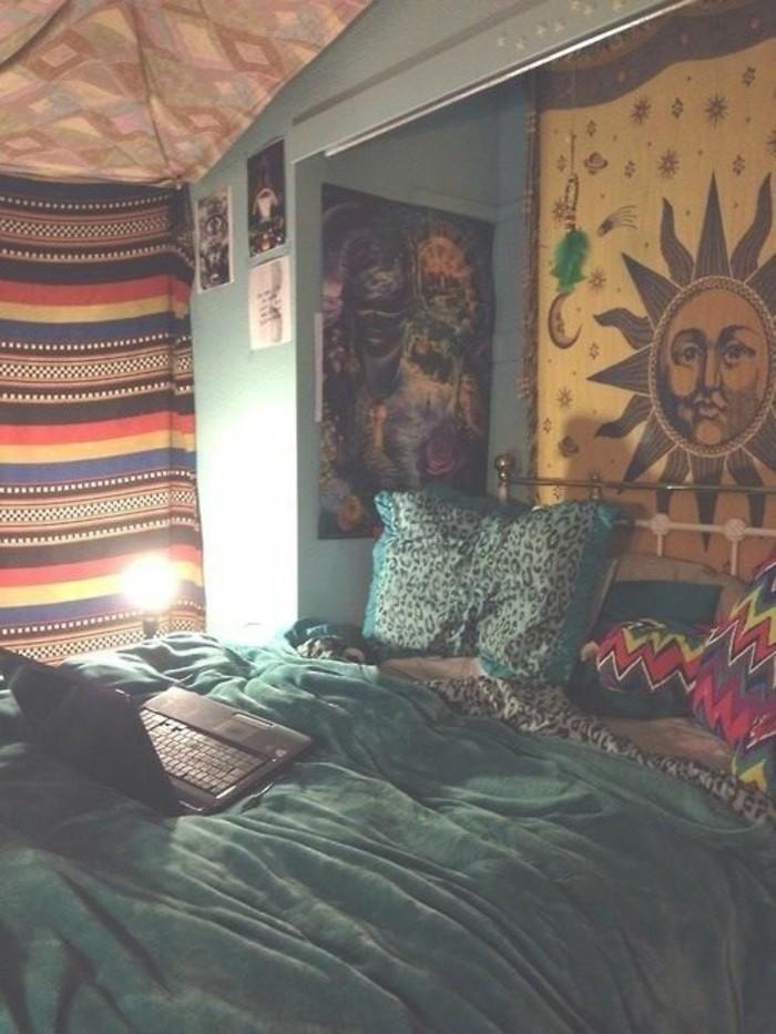 Wandgestaltung-Jugendzimmer-mit-dem-Bild-von-Sonne