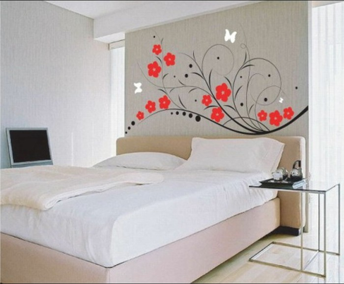 Wandtattoo-Jugendzimmer-mit-roten-Blumen