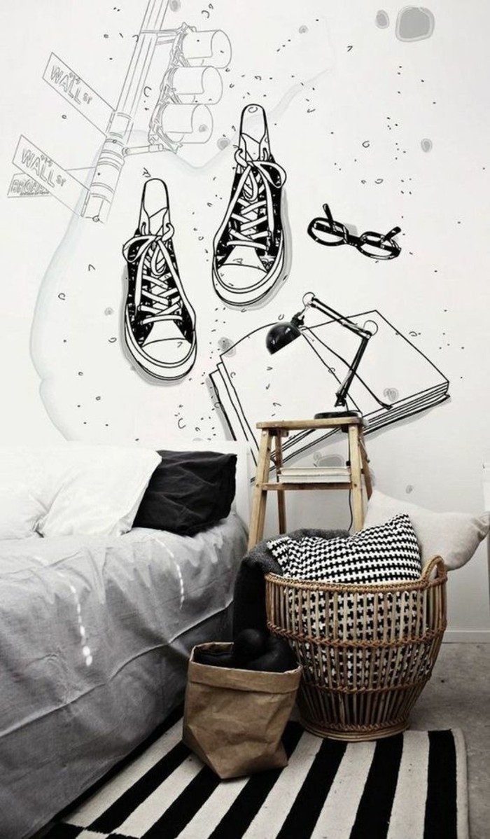 Wandtattoo-Jugendzimmerm-mit-ein-Paar-Turnschuhen