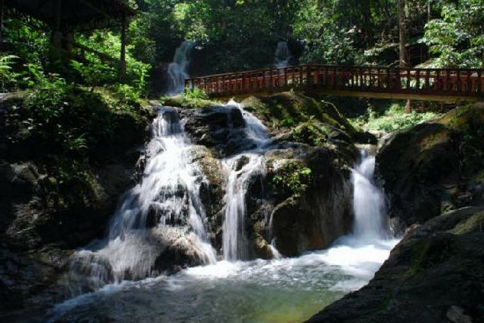 Wasserfall-Fotos-in-grünem-Wald