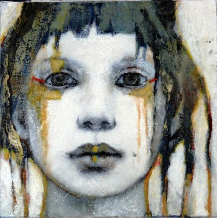 Zeitgenössische-Malerei-das-Gesicht-eines-Mädchen