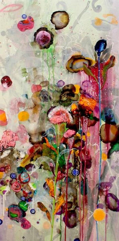 Zeitgenössische-Malerei-mit-abstrakten-Blumen