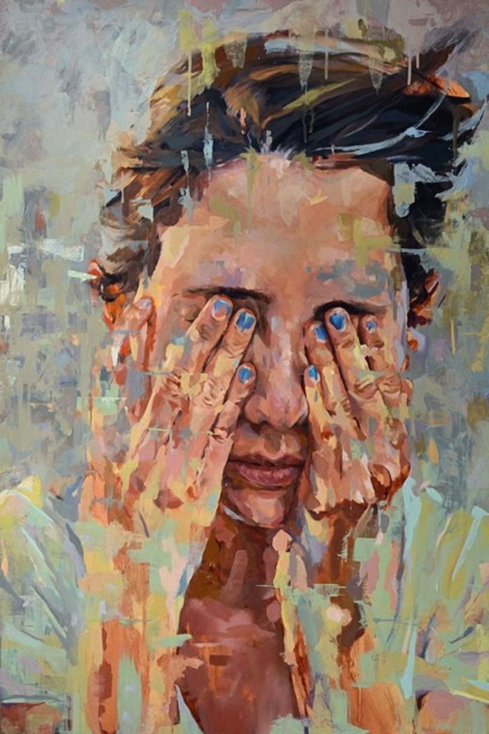 Zeitgenössische-Malerei-mit-blauer-Nagellack