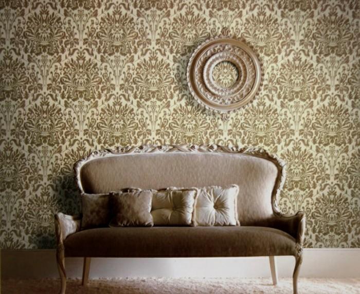 Wandtapeten In Steinoptik : aristokratisches-design-von-sofa-und-coole-tapete-im-wohnzimmer