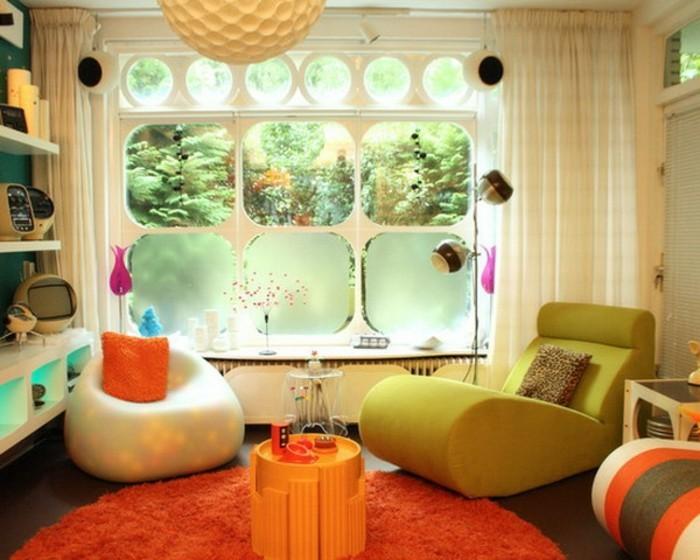 wohnzimmer deko orange:gemütliches wohnzimmer mit retro deko – orange teppich