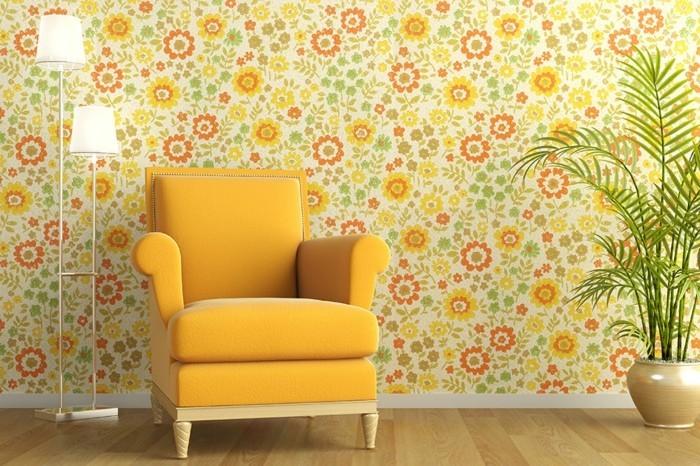 ganz-süße-tapete-im-hellen-gelben-wohnzimmer-attraktive-wandgestaltung