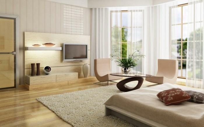 kreatives-modell-schlafzimmer-mit-weißen-gardinen-und-moderne-tapeten