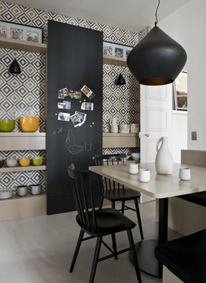 moderne-interessante-wandtapeten-schwarze-lampe-über-dem-tisch