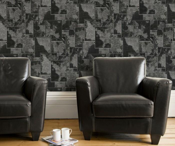 Wandtapeten In Steinoptik : coole schwarze sessel und attraktive wandtapete – steinoptik
