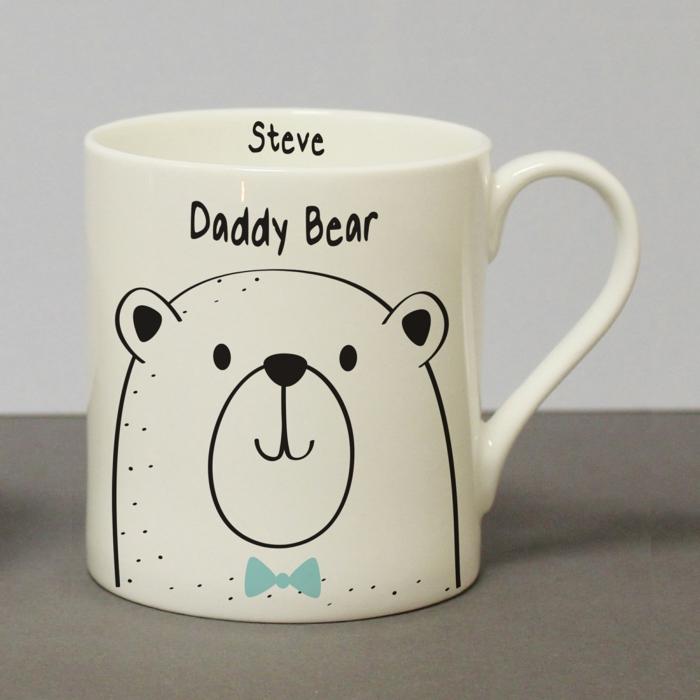 vater tochter geschenk, daddy bear, weiße kaffeetasse, bär mit blauer fliege
