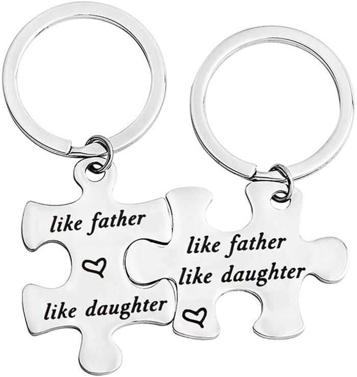 vater tochter geschenk, personalisierte schlüsseanhänger aus stahl, like the vfahter like the daughter