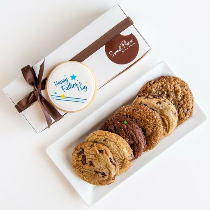 vatertagsgeschenke mit süßigkeiten, leckere selbsgtmeachte cookies, schokokekse