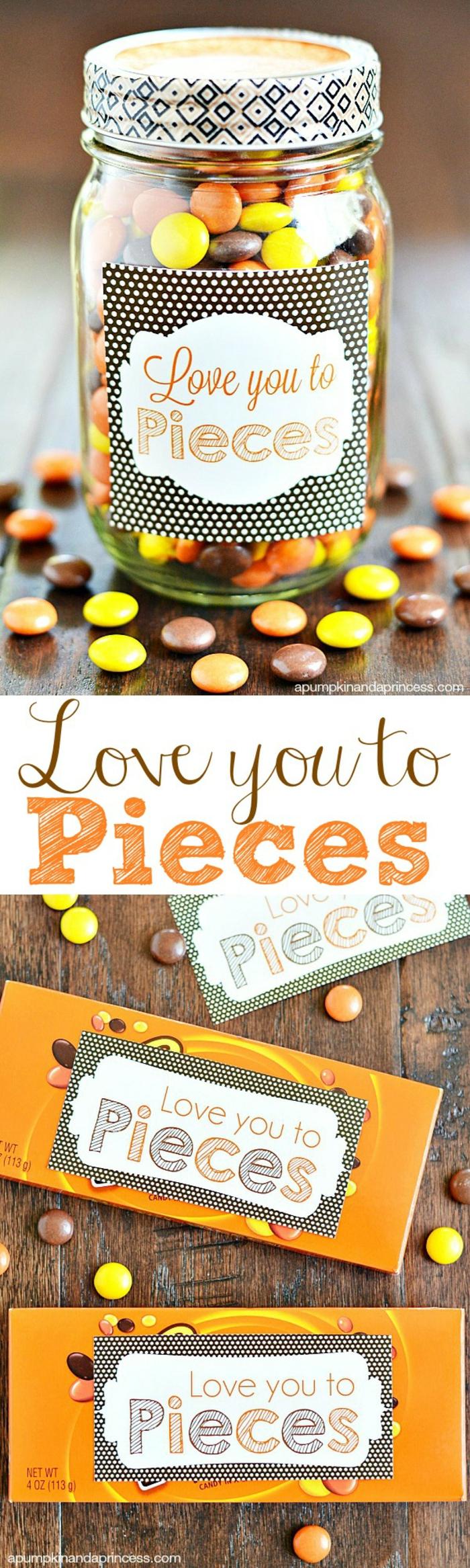 vatertagsgeschenke von kindern, diy geschenke zum vatertag, einmachglas mit bonbons