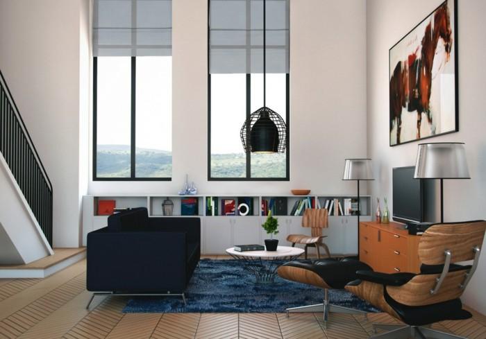 vintage-deko-schaffen-große-fenster-schöne-blaue-jalousien