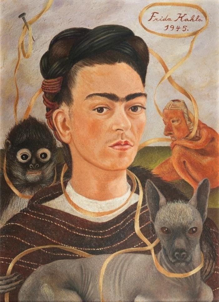"""""""Selbstbildnis-mit-Äffchen""""-1945-Frida-Kahlo-exotische- Haustiere"""