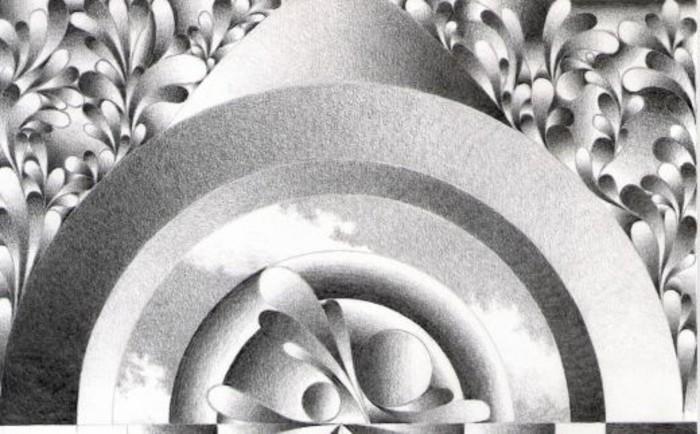 Bleistiftzeichnungen-abstrakte-Formen-wie-Blätter