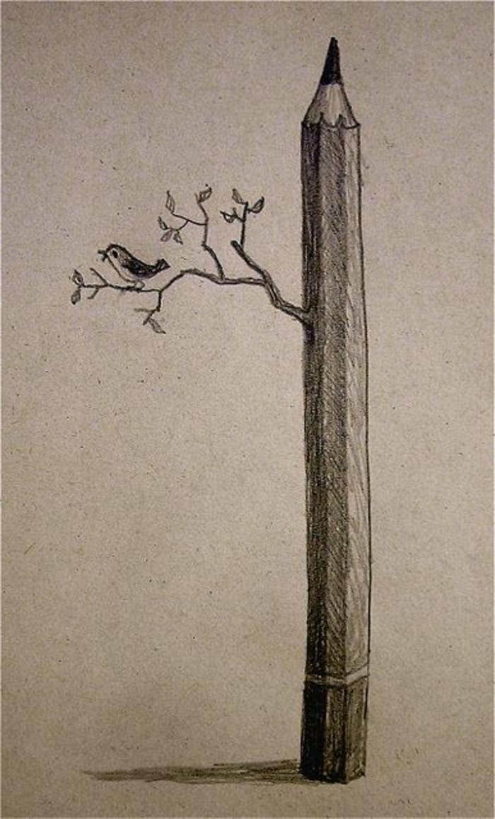 Bleistiftzeichnungen-ein-Bleistift-wie-Baum