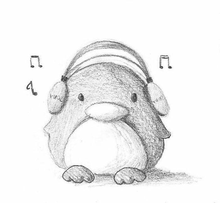 Bleistiftzeichnungen-ein-Penguin-mit-Kopfhörer