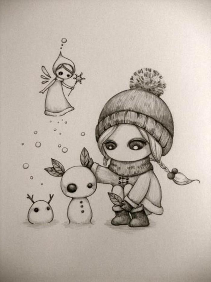 Bleistiftzeichnungen-mit-Mädchen-und-Schneemänner