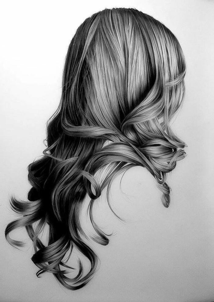 Bleistiftzeichnungen-realitisches-langes-Haar-einer-Frau