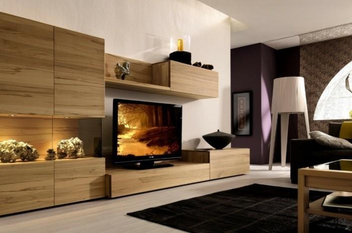 Bodenbeläge-Wohnzimmer-und-Regalsystem-aus-Holz