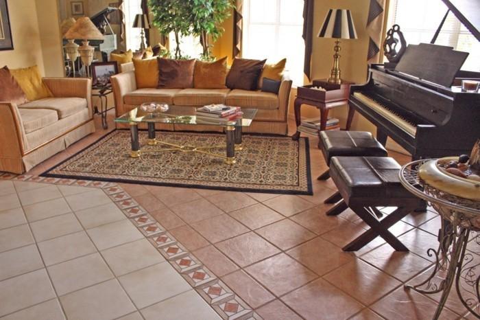Fliesen im wohnzimmer elegante bodenbel ge - Klavier fliesen ...