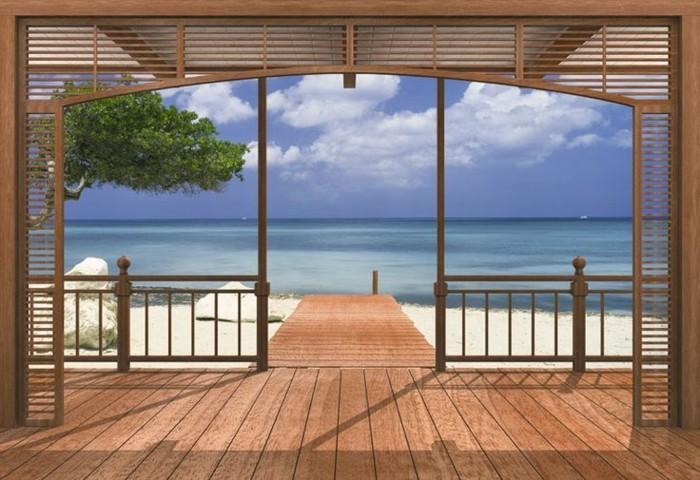 Fototapete-Strand-ein-Strandhaus-imitierend