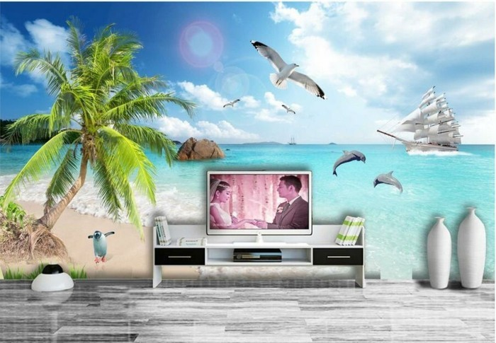 Fototapete-Strand-hinter-dem-Fernseher