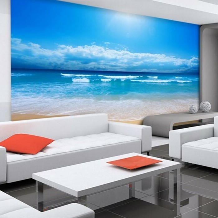 Fototapete-Strand-und-Meer-bei-starken-Sonnenlicht