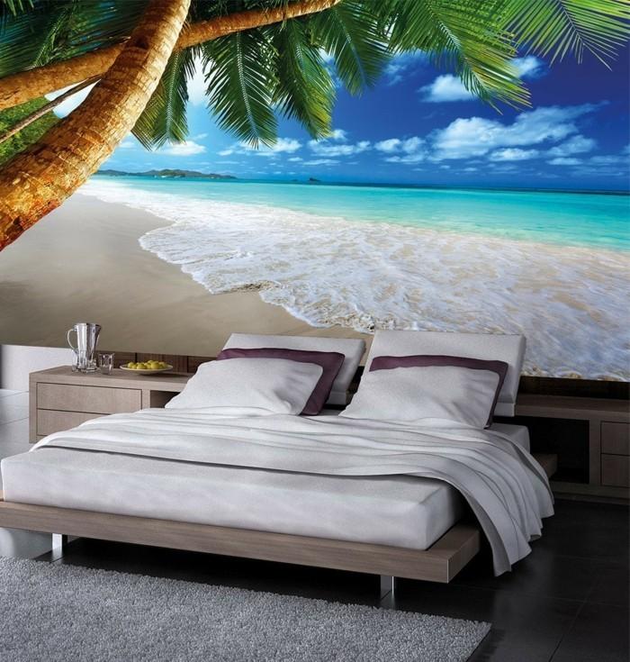 Fototapete-Strand-und-Meer-und-Palmen