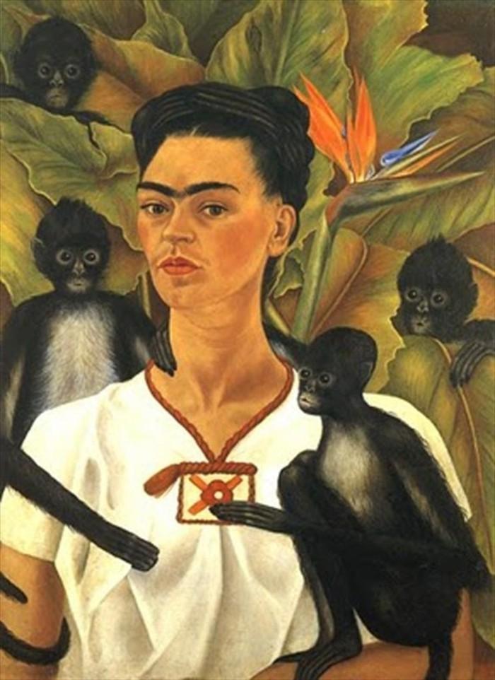 Frida-Kahlo-Selbstbildnis-mit-Affen-1943-exotische-Haustiere