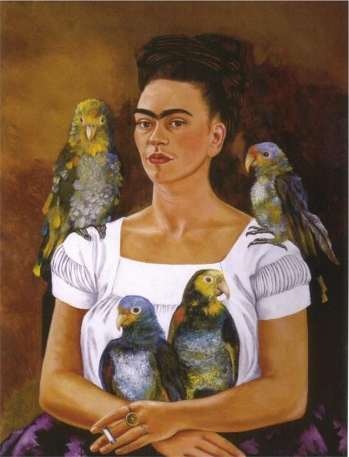 Frida-Kahlo-exotische-Haustiere-Papageien-1941-Ich-un-meine-papageien